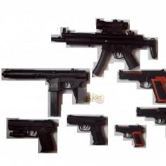 Arma Airsoft - SET 7 AIRSOFTURI 6mm, MITRALIERA M5, TRANCAN, 5 PISTOALE DIVERSE+BILE BONUS !