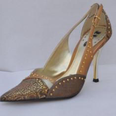 Pantofi dama, Piele sintetica - Pantofi culoare bronz, 1 to 3 (V5389 BRONCE) decupati