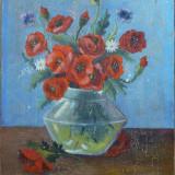 Vaza cu maci - semnat G.Gula - Pictor roman, Nonfigurativ, Ulei, Impresionism