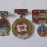 RARE! 3 INSIGNE COLECTIE:MONGOLIA, BELARUS, MOSKVICI(2 MIL BUCATI) - Insigna