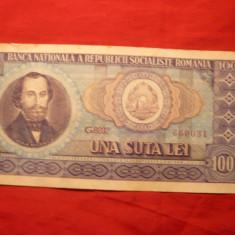 Bancnote Romanesti - Bancnota 100 Lei 1966, cal.Buna