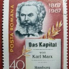 Timbre Romania, An: 1967, Oameni, Stampilat - Ro 1967, 100 ani de la aparitia lucrarii Capitalul Karl Marx, LP 661, stampilat