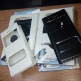 Flip Carte iPhone 5 Negru / Alb cu vedere la display - Husa Telefon Apple, Carcasa