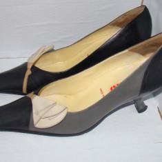 Pantofi dama MIU MIU autentici marimea 38, 5 culoarea neagra cu bej (talpa piele, interior / exterior piele) - Pantof dama Miu Miu, Culoare: Negru, Piele naturala, Negru