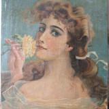 Portret de tanara, pictura veche, ulei pe panza - Pictor roman, Portrete, Art Nouveau