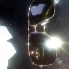 CÉLINE UNISEX Classic AVIATOR Style Gold Sunglasses SC1488- Fabulous, Negru, Patrati, Metal, Protectie UV 100%