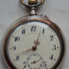 Ceas de buzunar Remontoir Ancre, elvetian, din argint, 2 capace, 10 rubine