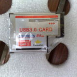 Adaptor Express card 54mm to USB 3.0x2 Port, ExpressCard to Usb 3.0 nou, sigilat - Adaptor interfata PC