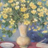 Mihaela Pastia, compozitie cu flori si carti, ulei pe panza - Pictor roman, Impresionism
