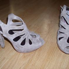 Sandale steve madden piele intoarsa - Sandale dama Steve Madden, Marime: 38, Taupe