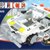 Masina de politie tip lego, 114 piese, jucarie constructiva, AUSINI 23406 - Jocuri Seturi constructie