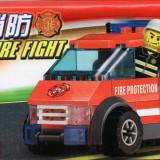 Masina de pompieri tip lego, 83 piese, jucarie constructiva, Kazi 8057 - Jocuri Seturi constructie