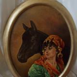 Tablou vechi perioada interbelica, ulei pe carton semnat - Pictor roman, Altul, Realism