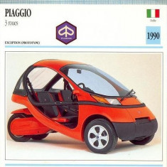 Fotografie - 406 Foto Motociclism - PIAGIO 3 ROUES-TRICICLU -PROTOTYPE- ITALIA -1990 -pe verso date tehnice in franceza -dim.138X138 mm -starea ce se vede
