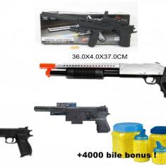Arma Airsoft - Mega set airsoft compus din PISTOL MITRALIERA +TRANCAN+PISTOLET AMORTIZOR+PISTOL, 6mm+4000 bile BONUS!