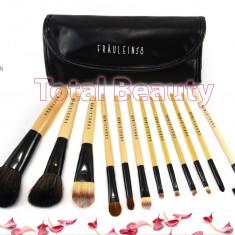 Pensula make-up - Trusa pensule machiaj profesionale 12 pensule Black Premium Fraulein38 Germania