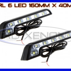 DRL ZDM 6-LED 1W - MERCEDES STYLE 160mm x 40mm - DAYTIME RUNNING LIGHT LUMINI DE ZI, Universal