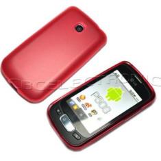 Husa silicon rosie LG OPTIMUS ONE P500 + folie protectie ecran, Rosu