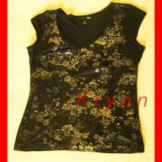 Bluza neagra cu auriu H&M, elastica subtire, marimea XS - Bluza dama H&m, Culoare: Negru, Maneca scurta, Club