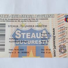 BILET MECI FORBAL, STEAUA - FC UNIREA URZICENI .2007-2008 .
