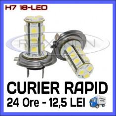 BEC AUTO LED - H7 18 SMD - LUMINI DE ZI, FAZA LUNGA (FLASH), PROIECTOARE - Led auto ZDM, Universal