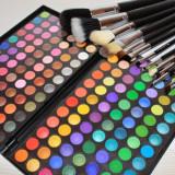 Trusa machiaj profesionala make up 168 culori fard MAC Cosmetics + Set 12 pensule par natural MAC - Trusa make up
