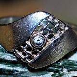 Inel extravagant argint 925 placat aur alb cu Peridot verde intens natural!!! - Inel argint