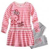 Set bluza si leggings 2-8 ani - Hello Kitty - roz cu gri, Marime: Alta