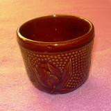 Pahar ceramic cu model floral - flori - lalea - 8cm diametru, 6.5cm inaltime - vechi - 2+1 gratis toate produsele la pret fix - RBK6026