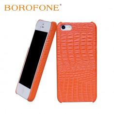 Husa Telefon Apple, Portocaliu, Piele, Husa - Husa piele BOROFONE Crocodile, iPhone 5/5s/SE, aspect de piele crocodil, CORAI