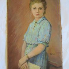 Tablou, Portrete - PORTRET DE DOMNISOARA PICTAT IN ULEI PE PANZA LIPITA PE PLACAJ SEMNAT GRADINESCU V. 1942-VIII