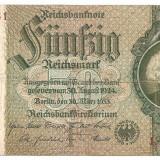 Bancnota Straine, Europa - GERMANIA Reichsmark 50 MARCI 1933 U