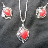 Set bijuterii argint - Set argint tibetan cu piatra superba red-fier