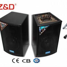 SISTEM PROFESIONAL 2 BOXE ACTIVE/AMPLIFICATE, MIXER INCLUS, MP3 PLAYER STICK USB/CARD, EFECTE VOCE+2 MICROFOANE WIRELESS BONUS !