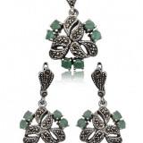 Set bijuterii argint - Set Cercei si Pandantiv Argint cu Smaralde (3T065-66)