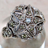 Xmas Sales -- OFF 30%!!! Inel Victorian Style (Ag 925): PERIDOT, PERLA... - Inel argint