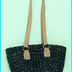 NOUA _ Poseta / geanta dama, de vara, din impletitura, culoare antracit, Geanta de umar