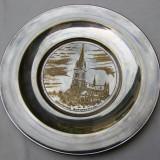 Frumoasa gravura pe farfurie din alama argintata, Ornamentale
