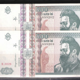 2 BANCNOTE 500 LEI 1992 NECIRCULATE - SERII CONSECUTIVE