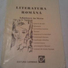LITERATURA ROMANA ADMITERE LICEU DE CARMEN IORDACHESCU, INDRUMATOR LITERAR - Carte Teste Nationale