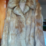 Haina din blana naturala de vulpe marimea 42, este noua, adusa din Germania! Oferta!, Cappuccino, Piele