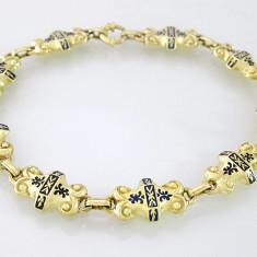Bratara din aur, 14 carate - BRATaRA SUPERBA VINTAGE AUR 14K EMAILATA UNIKAT LUCRAT MANUAL