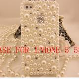 Husa telefon iPhone 5/5S PERLAT SI STRASURI, Alb, Carcasa