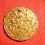 Medalion Floral din bronz aurit -sf.sec.XIX - Metal/Fonta