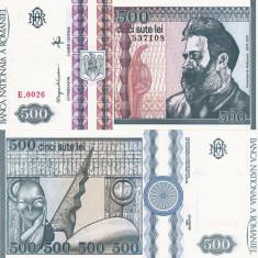 ROMANIA 500 lei 1992 - filigran profil UNC!!!, An: 1992