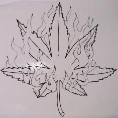 Marijuana_Sticker Auto_Perete_TRIB-023-Dimensiune: 35 cm. X 35 cm. - Orice culoare, Orice dimensiune - Stickere tuning
