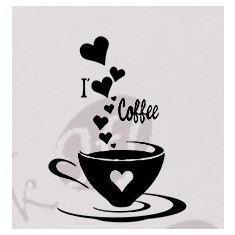 Tapet - I Love Coffee_Tatuaj De Perete_Sticker Decorativ_WALL-160-Dimensiune: 35 cm. X 26.2 cm. - Orice culoare, Orice dimensiune