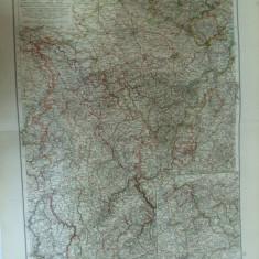 Harta color Germania Renania Westfalia Lippe si marele ducat al Luxemburgului Leipzig 1899 - Harta Germaniei