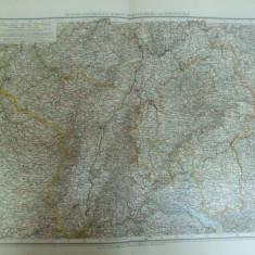 Harta color Germania Elsass - Lothringer Baden Wurttemberg si Rheinpfalz Leipzig 1899 - Harta Germaniei