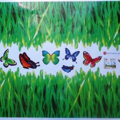 Sticker - autocolant decorativ pentru perete, model iarba si fluturi vii colorati